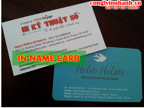 In nhanh name card, in nhanh một mặt hai mặt tại Quận 2
