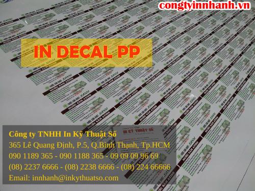 In decal PP giá rẻ in trực tiếp tại xưởng in của Công ty TNHH In Kỹ Thuật Số – Digital Printing